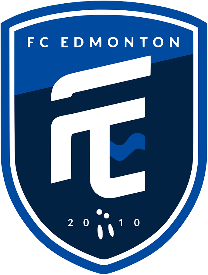 FC Edmonton Logo Primary Logo (2019-Pres) - A white FC inside a double blue shield SportsLogos.Net