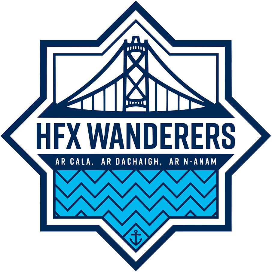 HFX Wanderers FC Logo Primary Logo (2019-Pres) - The Angus Macdonald Bridge within the shape of the Halifax Citadel SportsLogos.Net