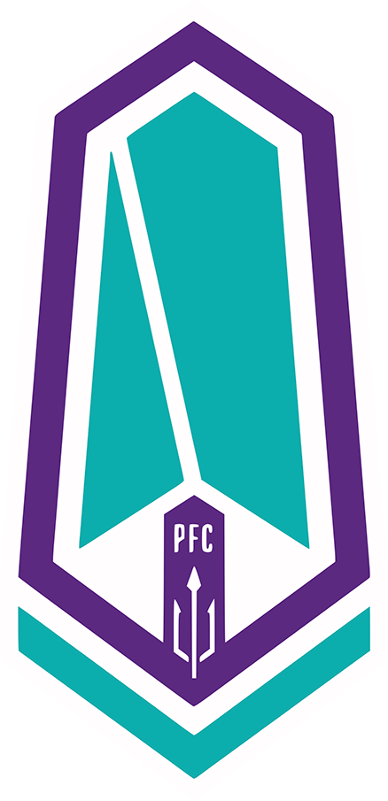Pacific FC Logo Primary Logo (2019-Pres) - A purple and teal crest in the shape of a Douglas fir tree, the right side of which displayed in the shape of Vancouver Island SportsLogos.Net