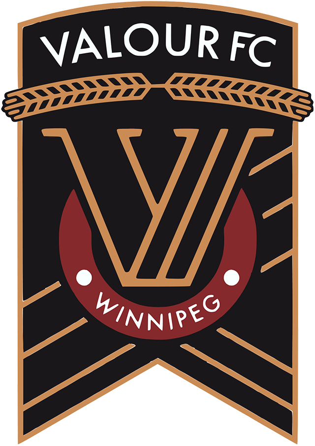 Valour FC Logo Primary Logo (2019-Pres) - A gold V within a black ribbon with wheat across the top SportsLogos.Net