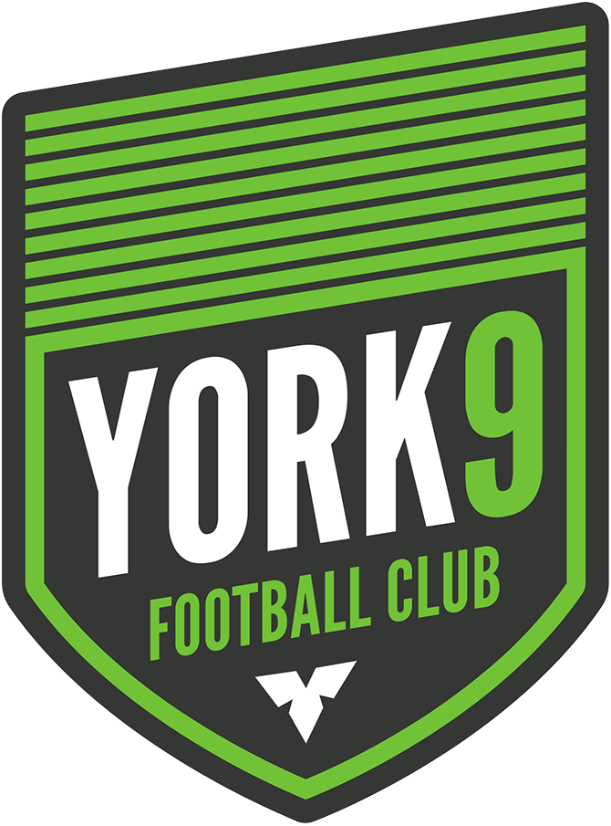 York9 FC Logo Primary Logo (2019-Pres) - Nine green stripes - one for each of the municipalities in York Region within a grey shield, a white trillium flower at the bottom is the provincial flower of Ontario SportsLogos.Net