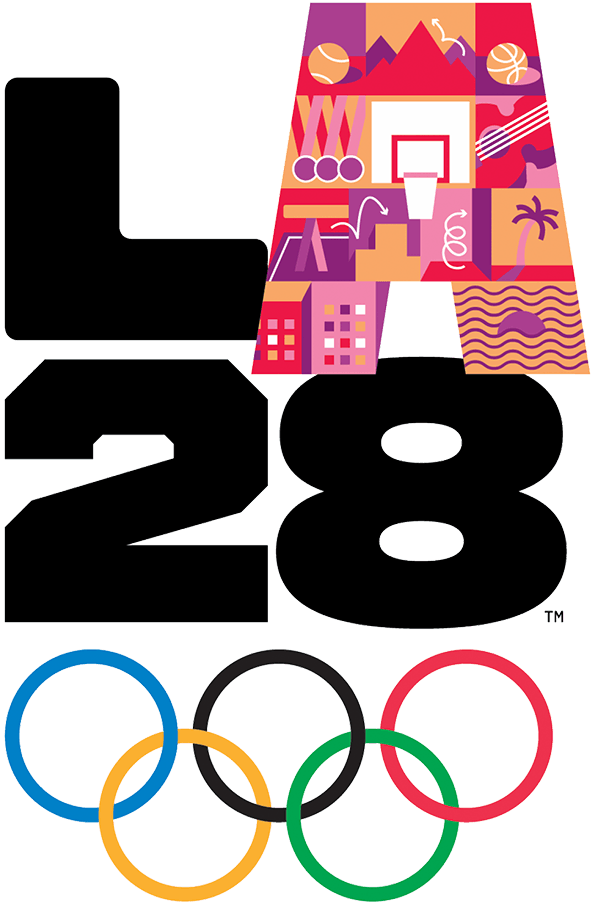 Summer Olympics Logo Alternate Logo (2028) - The logo for the 2028 Summer Olympics held in Los Angeles, USA. The logo shows the acronym of the host city LA above the abbreviated year 28 and the five Olympic rings. There are 26 different versions of this logo all with a different design for the A, all of which are considered primary logos by the host committee. SportsLogos.Net