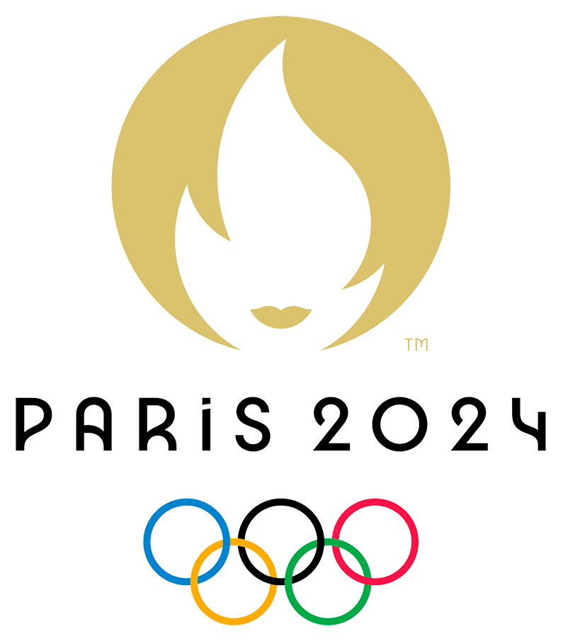 Summer Olympics Logo Primary Logo (2024) - The official logo for the 2024 Summer Olympics held in Paris, France shows the hair and face of a woman in gold to represent the Paris fashion industry, the negative space within the face graphic forms the shape of the Olympic torch. PARIS 2024 and the Olympic rings appear below. SportsLogos.Net
