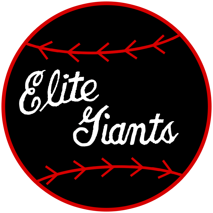Baltimore Elite Giants Logo Primary Logo (1938-1948) - The Baltimore Elite Giants wore this logo featuring a black baseball with Elite Giants scripted on it in white on the sleeve of their jerseys SportsLogos.Net