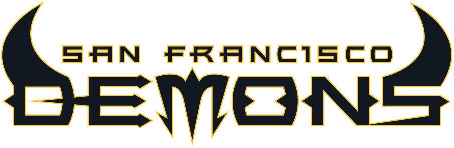 San Francisco Demons Logo Wordmark Logo (2001) - Demons in black with horns outlined in gold with San Francisco in black SportsLogos.Net