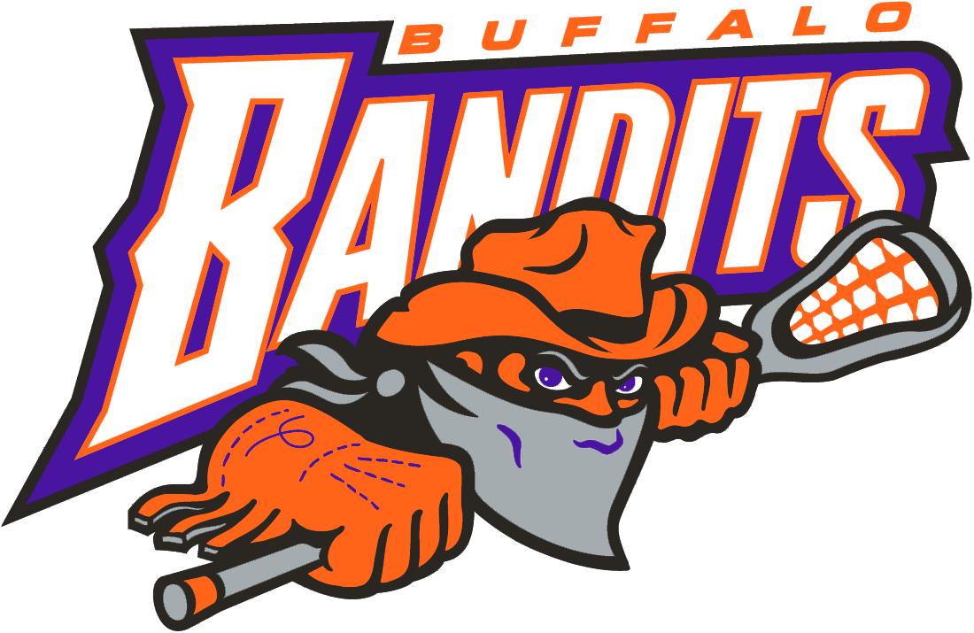 Buffalo Bandits Logo Primary Logo (1997/98-Pres) - A bandit wearing an orange hat and mask holding a lacrosse stick SportsLogos.Net