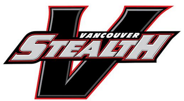 Vancouver Stealth Logo Primary Logo (2013/14-2017/18) - Black italic-style V with silver bevel outlined in red.  STEALH in silver is written across the V with Vancouver above in white SportsLogos.Net