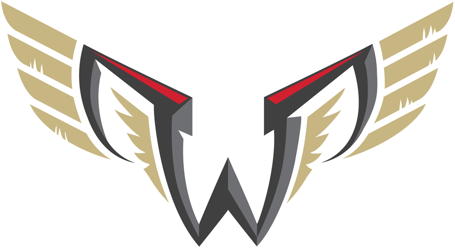 Philadelphia Wings Logo Primary Logo (2018/19-Pres) - A grey W with two mirror-image Ps with golden wings inside and out SportsLogos.Net