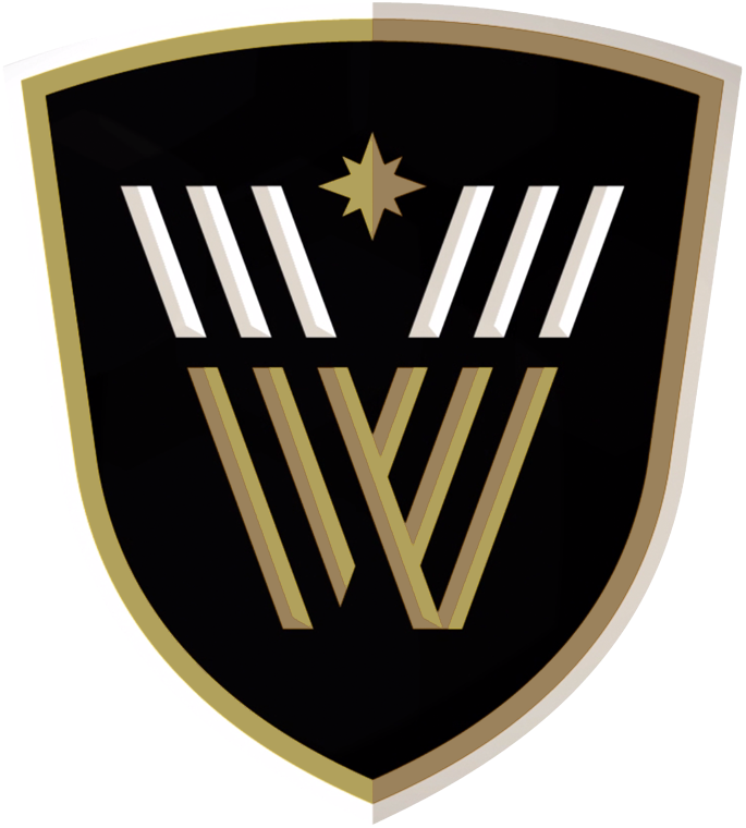 Vancouver Warriors Logo Primary Logo (2018/19-Pres) - Three lines on each side forged together to form a VW on a black shield with the north star above SportsLogos.Net
