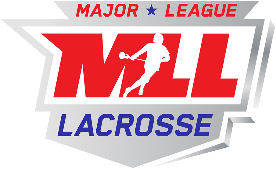 Major League Lacrosse Logo Primary Logo (2019-Pres) - A lacrosse player in white on MLL in red on a silver shield SportsLogos.Net