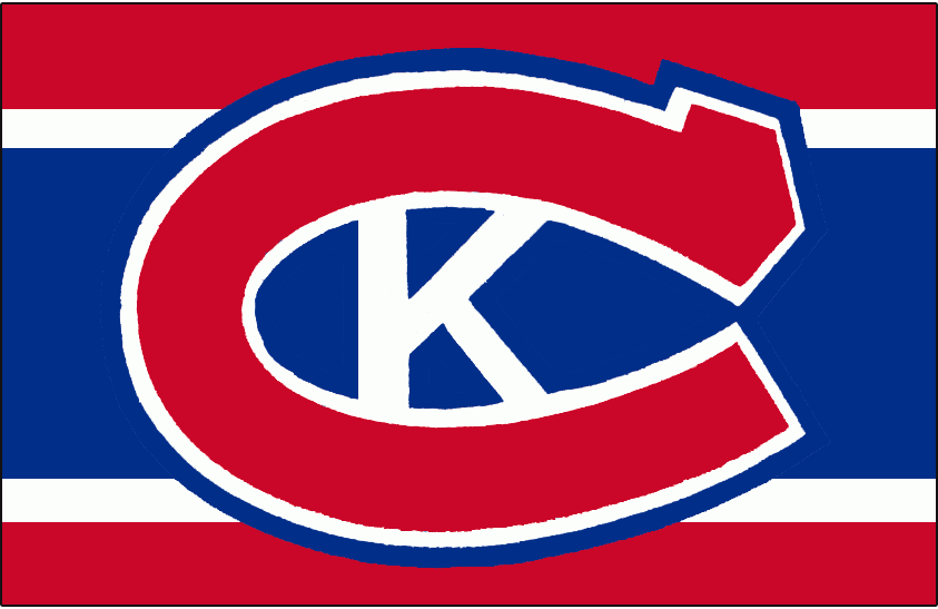 Kingston Canadians Logo Jersey Logo (1973/74-1987/88) - Red 'C' with white K created in the space between the 'C' on red, white, and blue base - worn on Kingston Canadians dark jersey from 1974/75 - 1987/88 SportsLogos.Net