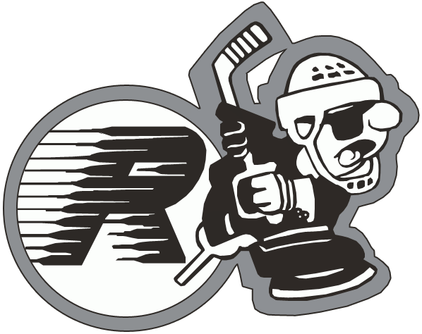 Kingston Raiders Logo Primary Logo (1988/89) - A hockey player taking a slapshot while wearing an eye patch, a streaking black R behind in a silver and white circle SportsLogos.Net