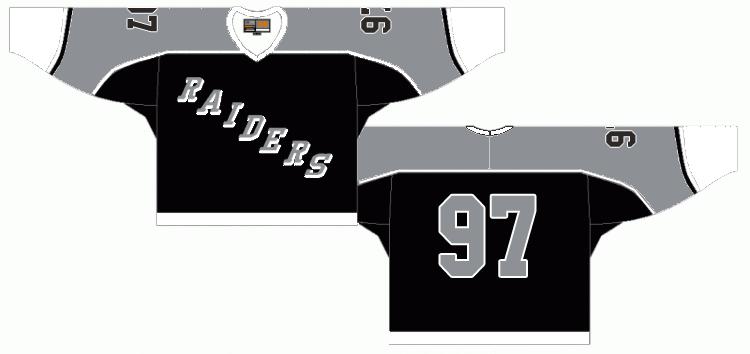 Kingston Raiders Uniform Road Uniform (1988/89) - A black uniform with white sleeves and grey trim SportsLogos.Net