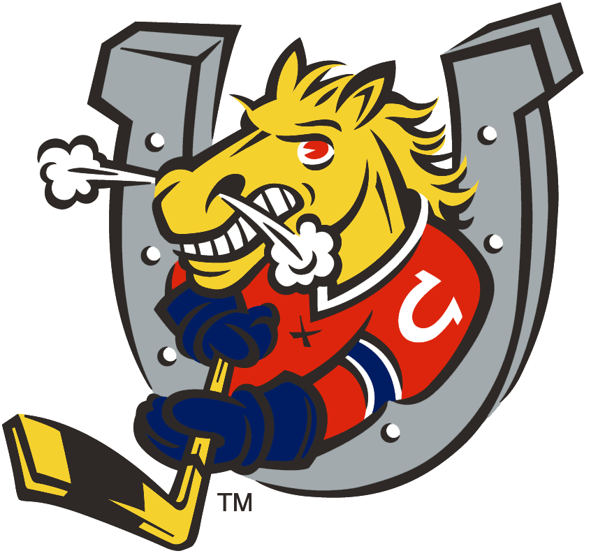 Barrie Colts Logo Primary Logo (1995/96-Pres) - A horse through a horseshoe holding a hockey stick SportsLogos.Net
