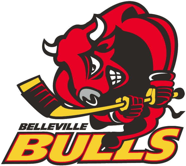 Belleville Bulls Logo Primary Logo (1998/99-2014/15) - A red bull holding a hockey stick and charging SportsLogos.Net