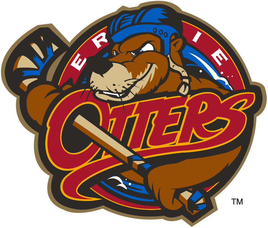 Erie Otters Logo Primary Logo (1996/97-2015/16) - An otter wearing a helmet and holding a hockey stick SportsLogos.Net