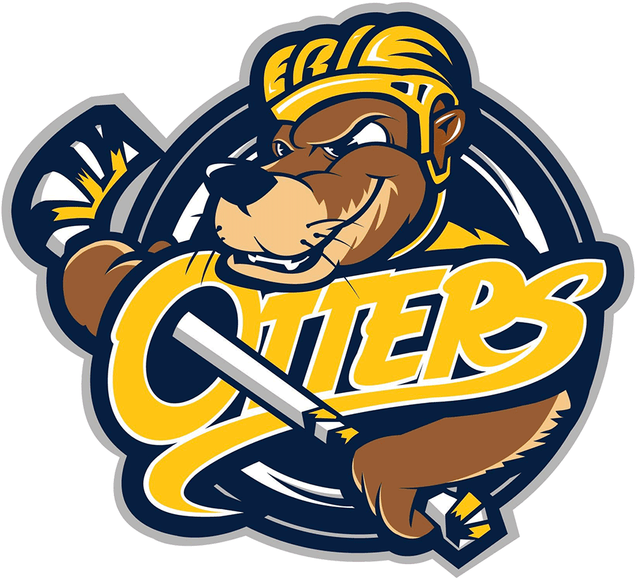 Erie Otters Logo Primary Logo (2019/20-Pres) - Original otters logo updated with new colours, ERIE added to helmet SportsLogos.Net
