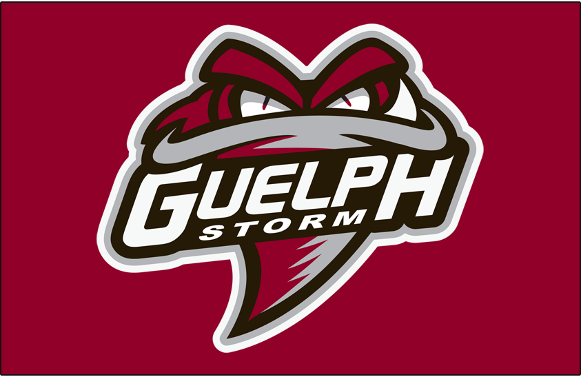 Guelph Storm Logo Jersey Logo (2018/19-Pres) - Funnel cloud facing viewer in grey and burgundy, team name across front on black worn on Guelph Storm burgundy jersey starting in 2018-19 season SportsLogos.Net
