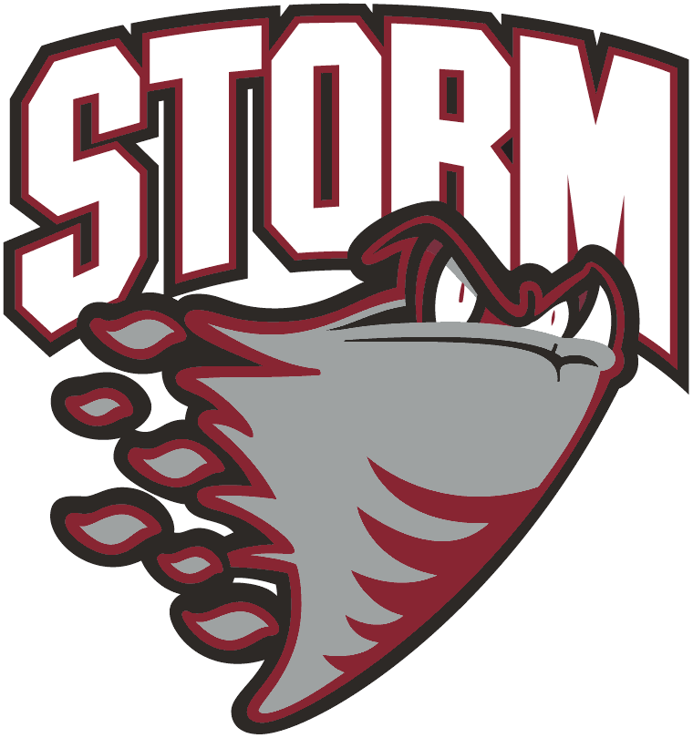 Guelph Storm Logo Primary Logo (2007/08-2017/18) - A grey storm cloud with eyes heading east SportsLogos.Net