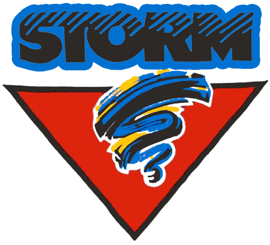 Guelph Storm Logo Primary Logo (1991/92-1996/97) - A blue and black storm cloud on a red triangle SportsLogos.Net