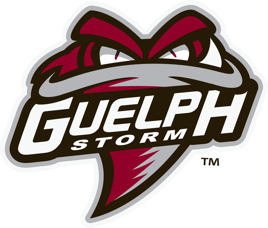 Guelph Storm Logo Primary Logo (2018/19-Pres) - Funnel cloud facing viewer in grey and burgundy, team name across front on black SportsLogos.Net