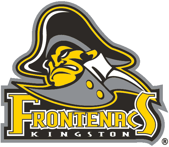 Kingston Frontenacs Logo Primary Logo (2001/02-2008/09) - A man wearing a hat and collar with team name below SportsLogos.Net
