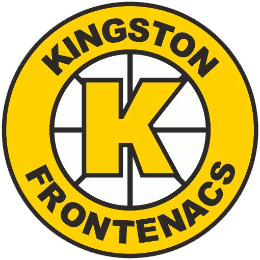 Kingston Frontenacs Logo Primary Logo (1989/90-1997/98) - A yellow and black K inside a yellow spoked circle SportsLogos.Net