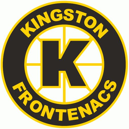 Kingston Frontenacs Logo Primary Logo (1998/99-2000/01) - A yellow and black K inside a black spoked circle SportsLogos.Net