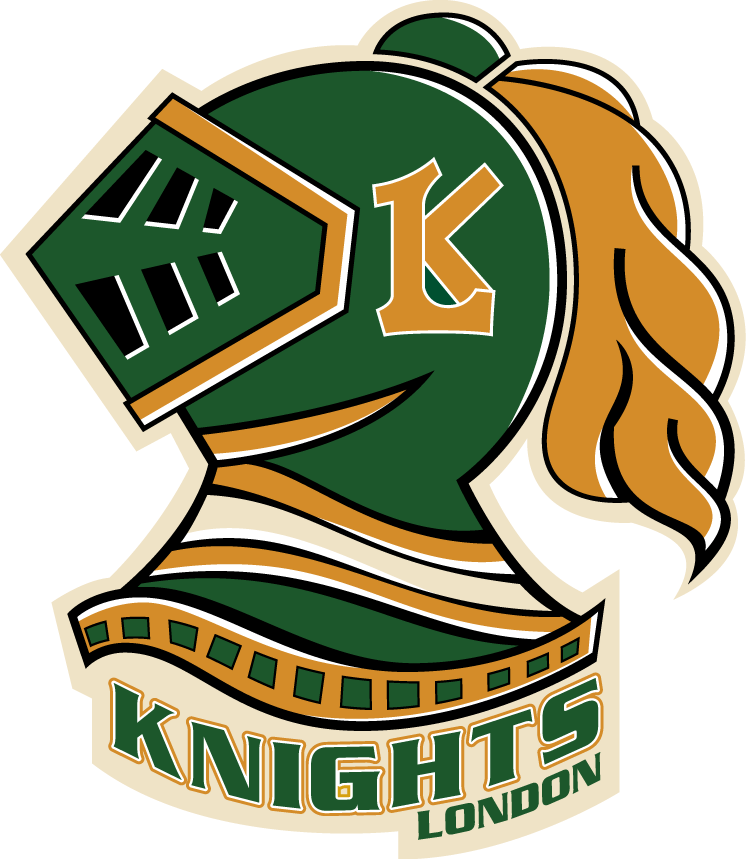 London Knights Logo Primary Logo (2008/09-2011/12) - A green knights helmet with gold highlights, and London Knights script below SportsLogos.Net