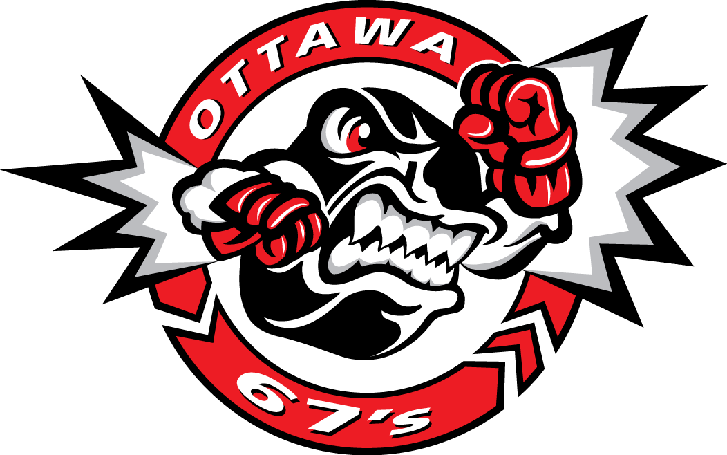 Ottawa 67s Logo Primary Logo (1998/99-2011/12) - An angry puck shaking its fist in a circle SportsLogos.Net