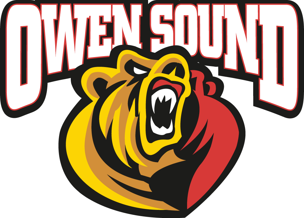 Owen Sound Attack Logo Primary Logo (2011/12-Pres) - An angry bear in front of the text 'Owen Sound' SportsLogos.Net