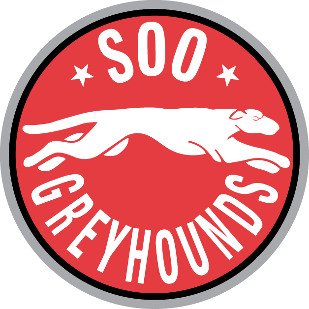 Sault Ste. Marie Greyhounds Logo Primary Logo (1999/00-2008/09) - A white grey hound running between team name on a red circle SportsLogos.Net