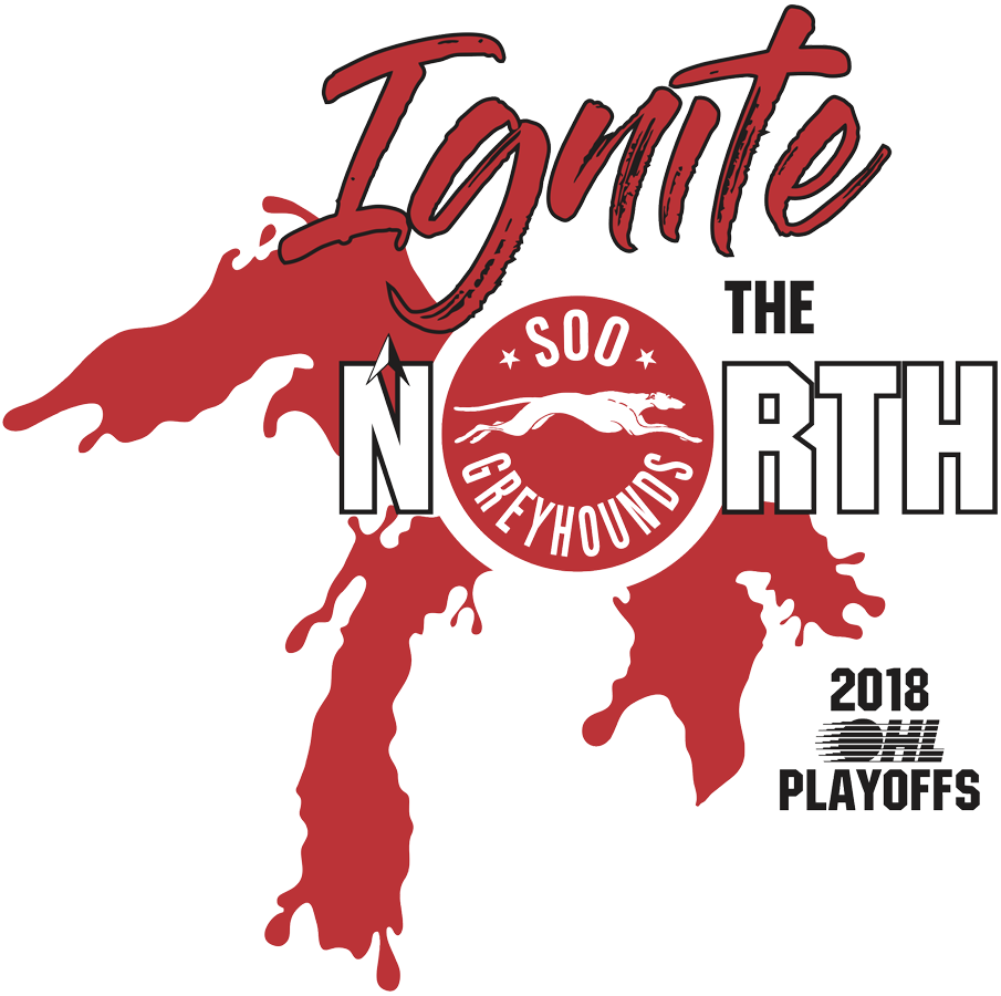Sault Ste. Marie Greyhounds Logo Event Logo (2017/18) - Sault Ste Marie Greyhounds 2018 OHL Playoffs logo, shows three of the five Great Lakes in red SportsLogos.Net