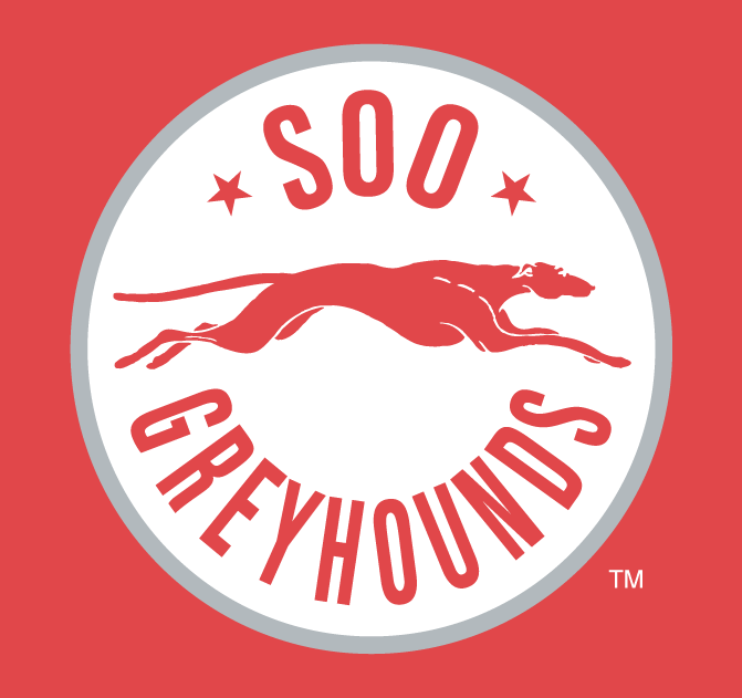 Sault Ste. Marie Greyhounds Logo Alternate Logo (2009/10-2012/13) - A white circle with a grey outline containing a running greyhound and the team name SportsLogos.Net