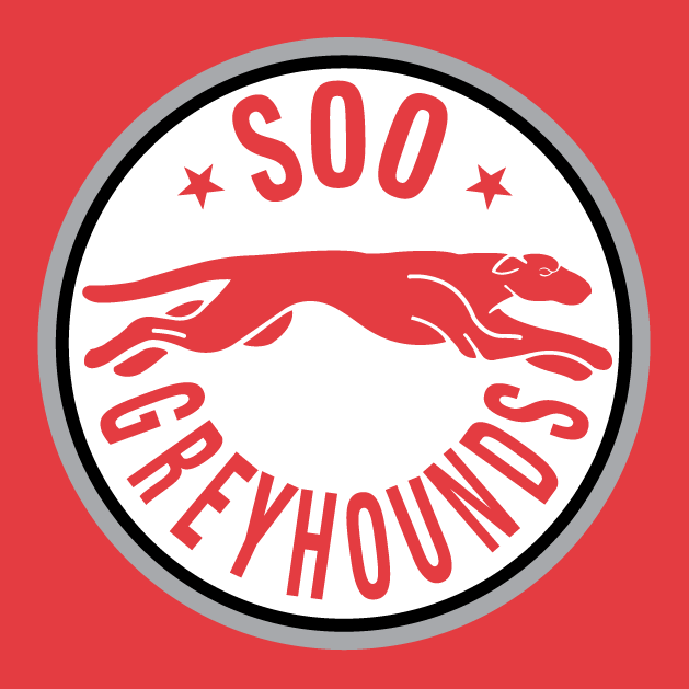 Sault Ste. Marie Greyhounds Logo Alternate Logo (1998/99-2008/09) - A red grey hound running between team name on a white circle SportsLogos.Net