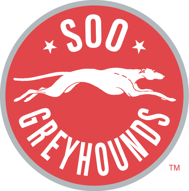 Sault Ste. Marie Greyhounds Logo Primary Logo (2009/10-2012/13) - A red circle with a grey outline containing a running greyhound and the team name SportsLogos.Net