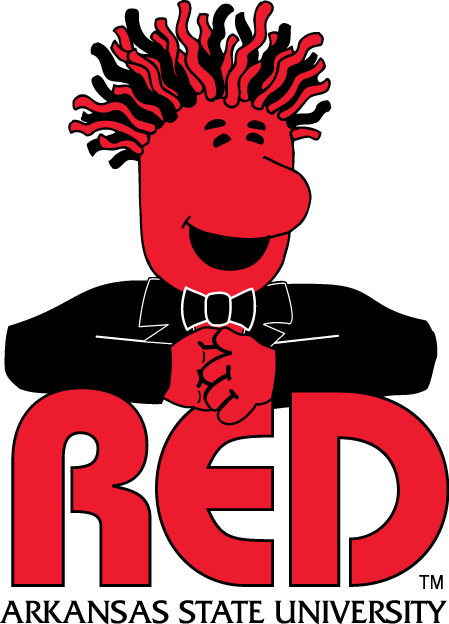 Arkansas State Indians Logo Mascot Logo (2003-2008) - In 2003, Arkansas State University decided to make a new mascot, named Red, created by ASU\'s director of athletic marketing. The spirit character began as a project to design a character that looks friendly, is unique, and is not an animal. Red was named because that was how he was perceived by the marketing analysis and research groups, which were children and youth. SportsLogos.Net