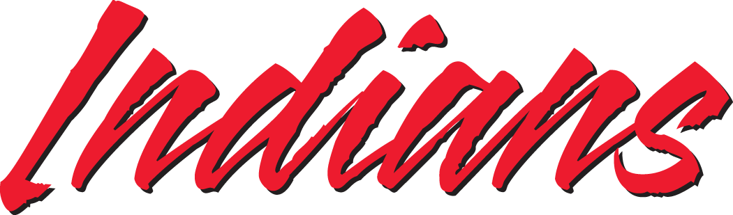 Arkansas State Indians Logo Wordmark Logo (1993-2008) - Script INDIANS. Was discontinued in 2008 when Red Wolves became the new mascot. SportsLogos.Net