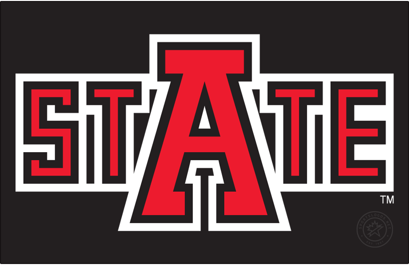 Arkansas State Indians Logo Alt on Dark Logo (1980-2008) - State Mark. This version used a brighter red and had a thicker white outline than its successor in 2008. This served as an alternate to the other Native American logos used at during this era. SportsLogos.Net