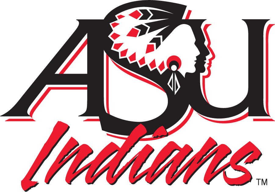 Arkansas State Indians Logo Primary Logo (1993-2008) - ASU with Indian Head above script INDIANS. This was discontinued in 2008 as the school switched to the Red Wolves moniker. SportsLogos.Net