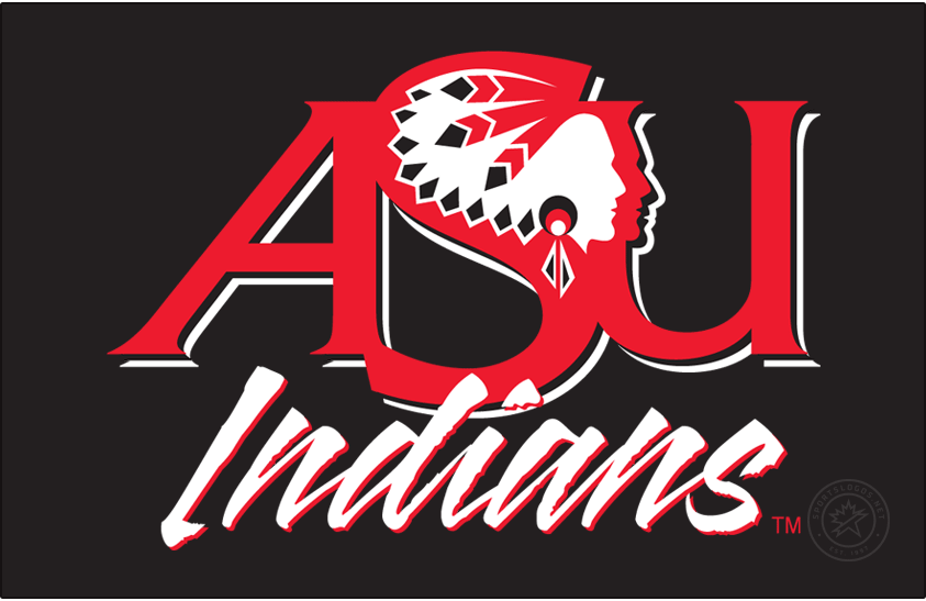 Arkansas State Indians Logo Primary Dark Logo (1993-2008) - ASU with Indian Head above script INDIANS. This was discontinued in 2008 as the school switched to the Red Wolves moniker. SportsLogos.Net