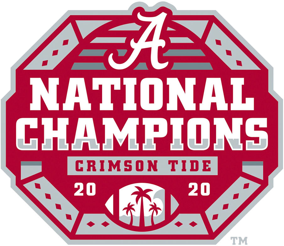 Alabama Crimson Tide Logo Champion Logo (2020) - When the Alabama Crimson Tide won the 2020 National College Football Championship game over Ohio State on January 11, 2021 they celebrated with this logo. The design shows eighteen diamonds, represeting their 18 national titles, on a red and silver shield, NATIONAL CHAMPIONS across the front in white and their scripted A logo above. The palm trees in the football at the bottom are a nod to Miami, the host city of the game. SportsLogos.Net