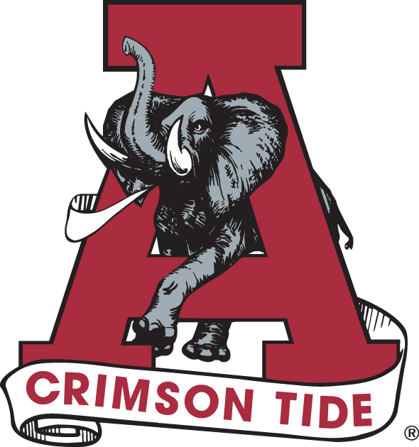 Alabama Crimson Tide Logo Primary Logo (1974-2000) - Elephant in the middle of a red A SportsLogos.Net