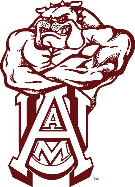 Alabama A&M Bulldogs Logo Alternate Logo (1980-Pres) - Bulldog with muscels behind UAM SportsLogos.Net