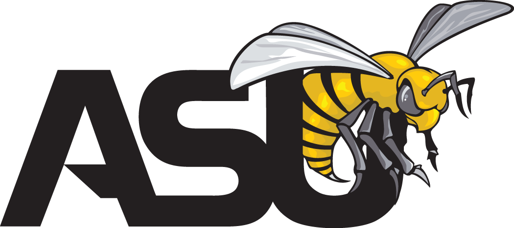 Alabama State Hornets Logo Primary Logo (1999-Pres) - A yellow hornet above ASU script in black SportsLogos.Net