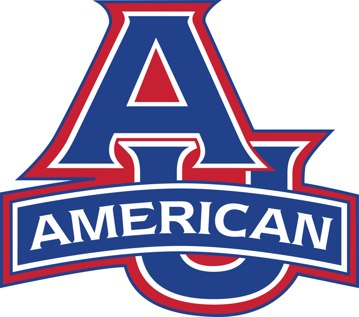 American Eagles Logo Primary Logo (2006-Pres) - AU in blue with red outline and banner saying American SportsLogos.Net