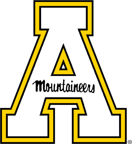 Appalachian State Mountaineers Logo Primary Logo (2014-Pres) - White A in yellow and black trim with Mountaineers written inside SportsLogos.Net