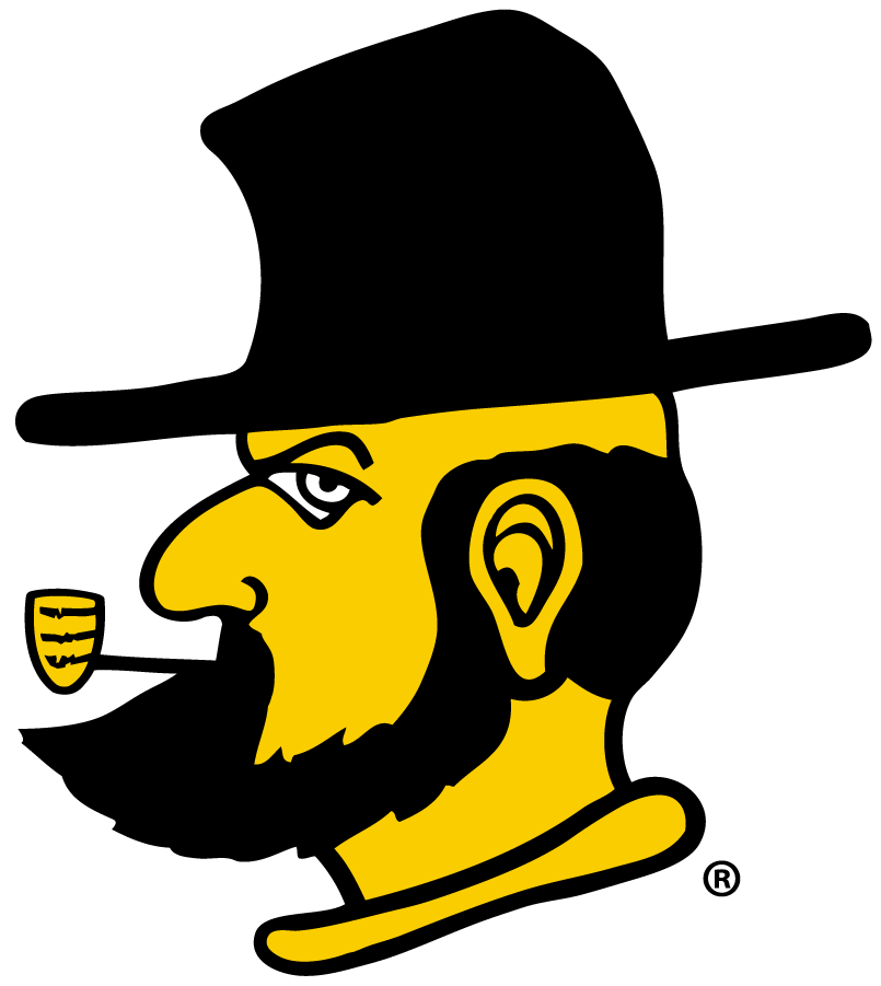 Appalachian State Mountaineers Logo Secondary Logo (2013-Pres) - The Victory Yosef head logo, originally a one-game throwback in 2012 the team incorporated it as a full-time secondary logo due to its popularity starting in 2014. SportsLogos.Net