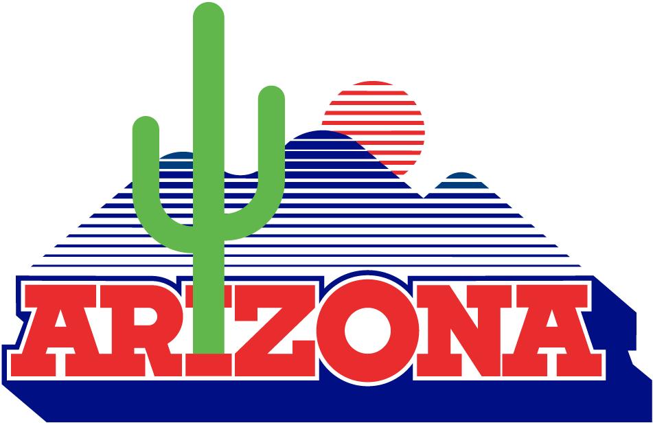 Arizona Wildcats Logo Alternate Logo (1983-2002) - Desert scape over script with cactus forming the I SportsLogos.Net