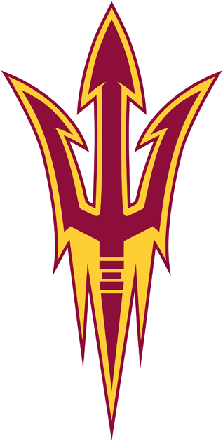 Arizona State Sun Devils Logo Alternate Logo (2011-Pres) - Maroon pitchfork with gold inner outline and maroon outer outline. SportsLogos.Net